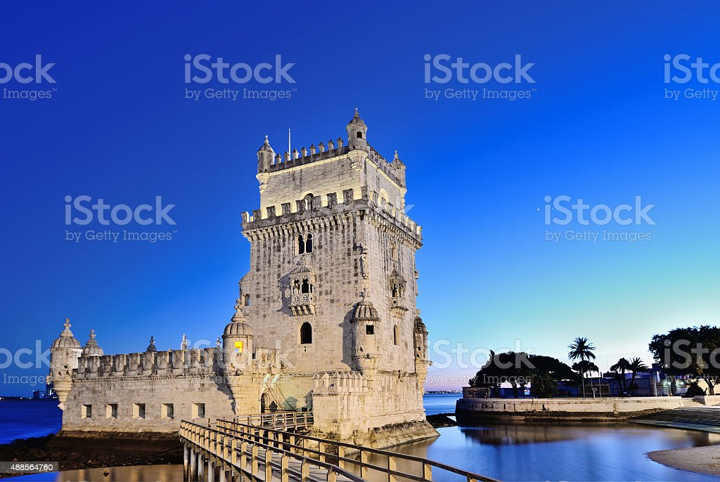 Belem Tower at night in Lisbon stock photo