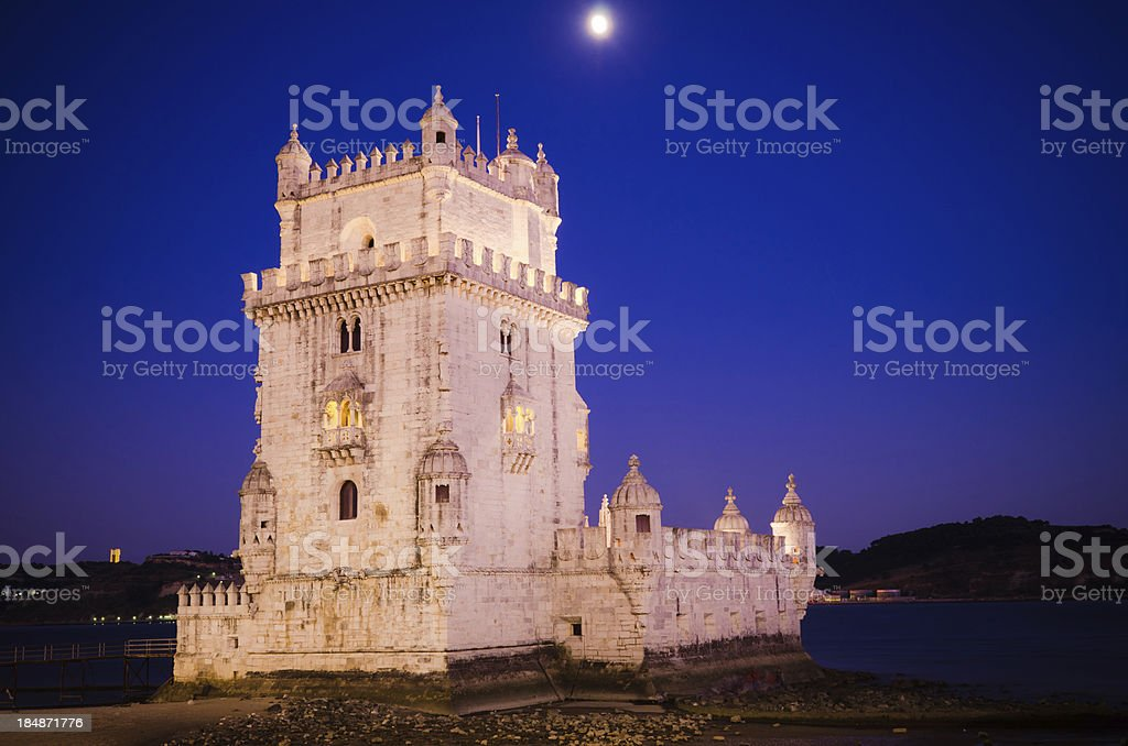 Belem Tower in Lisbon, Portugal at night stock photo