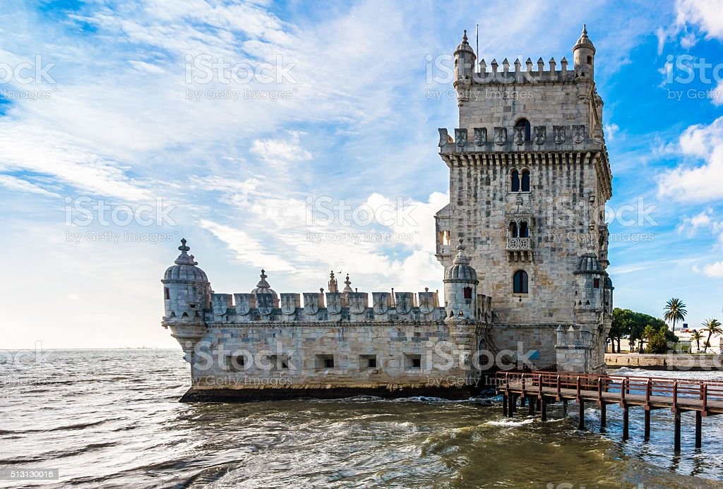 belem tower libon lisboa portugal color colour cloud day stock photo