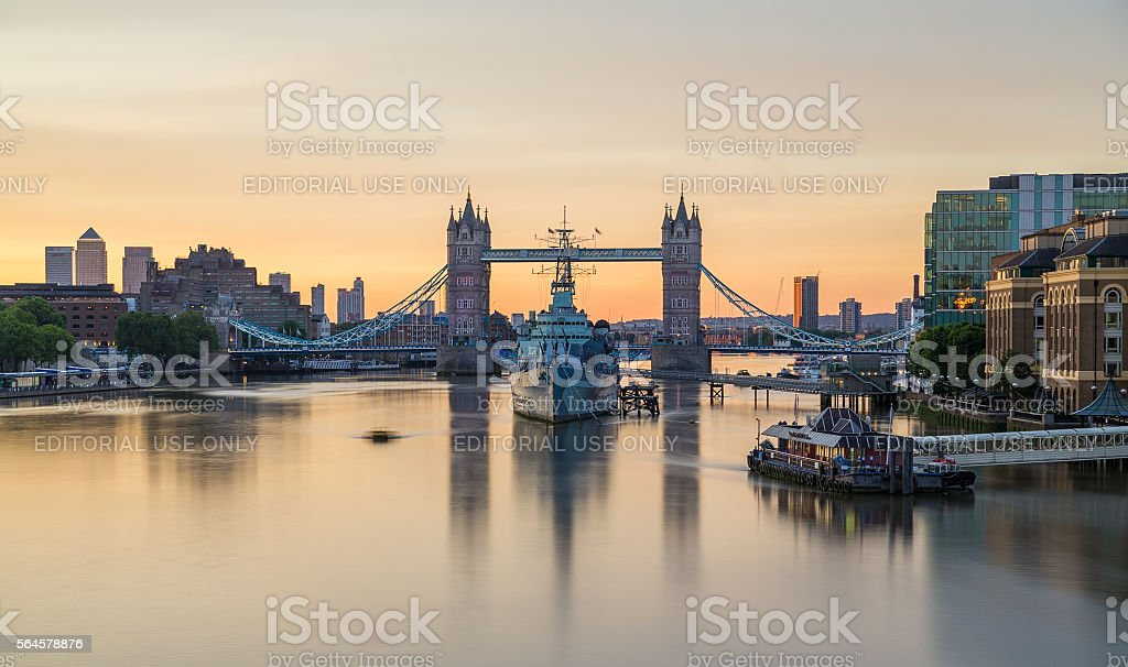 HMS Belfast and Tower Bridge in the morning stock photo