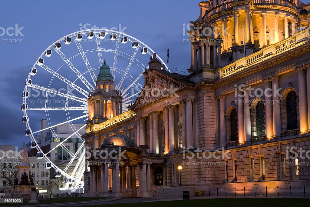 Belfast City Hall, Ferris Wheel stock photo