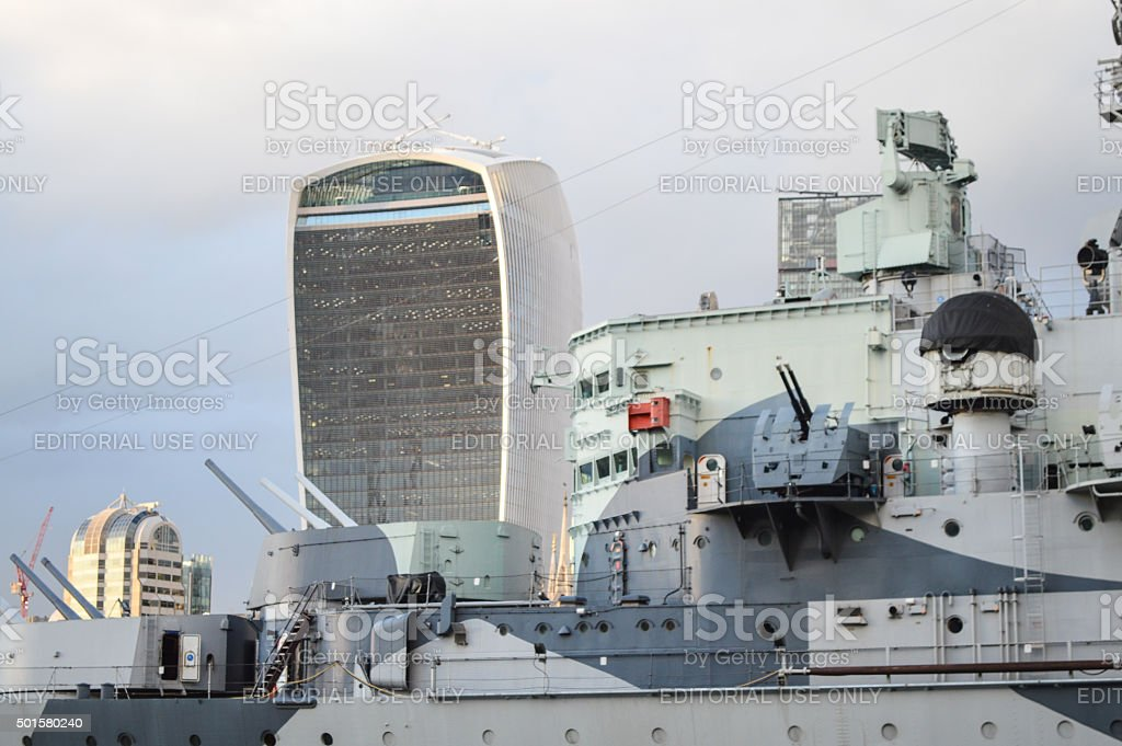 HMS Belfast guarding downtown London stock photo