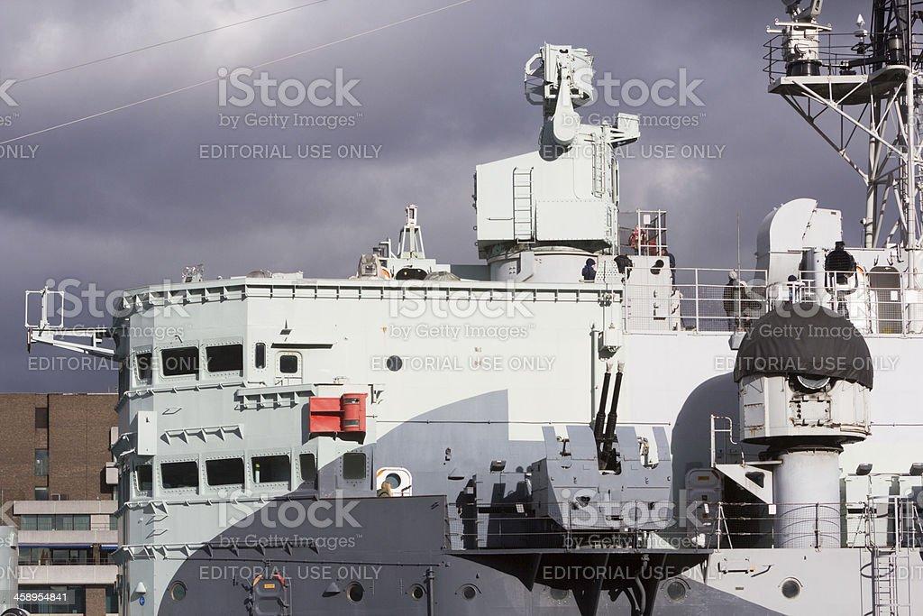 HMS Belfast in London, England royalty-free stock photo