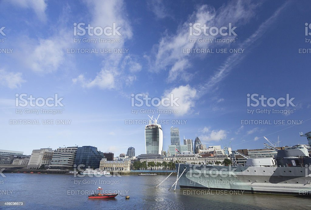 HMS Belfast in London, England royalty-free stock photo