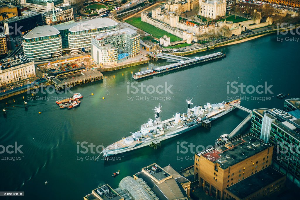 HMS Belfast in London stock photo