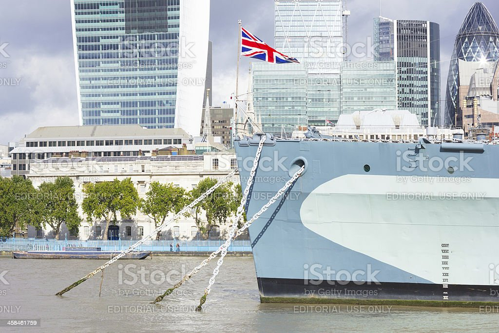 HMS Belfast in Southwark, London royalty-free stock photo