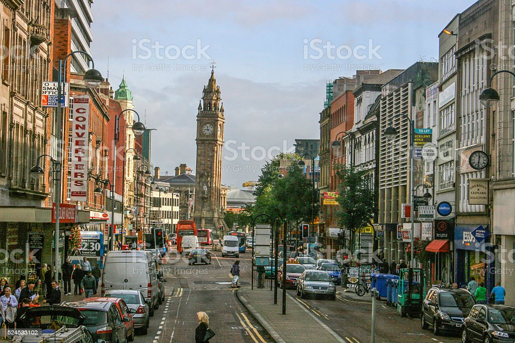 Belfast Leaning Clock Tower stock photo