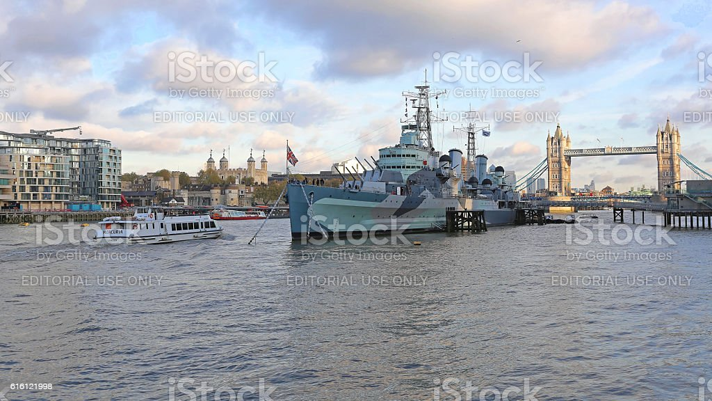 HMS Belfast London stock photo