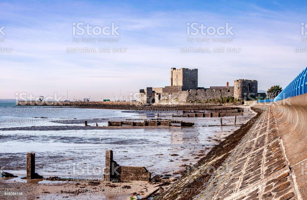 Belfast Lough and Norman Castle in Carrickfergus stock photo