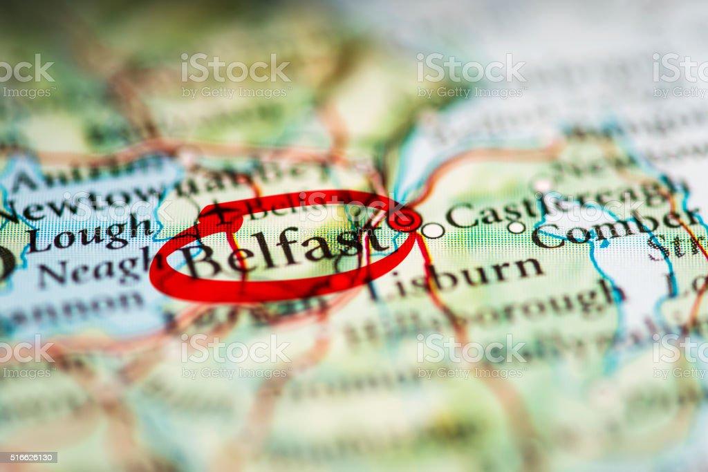 Belfast Marked on Map stock photo