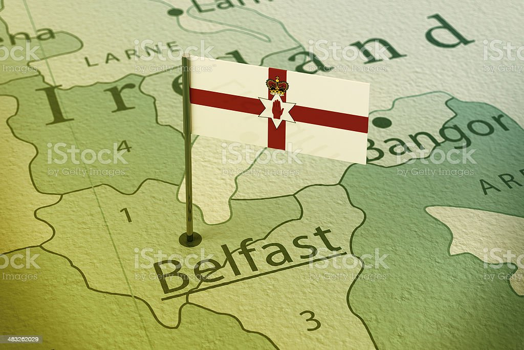 Belfast Northern Ireland Flag Pin Map Vintage stock photo