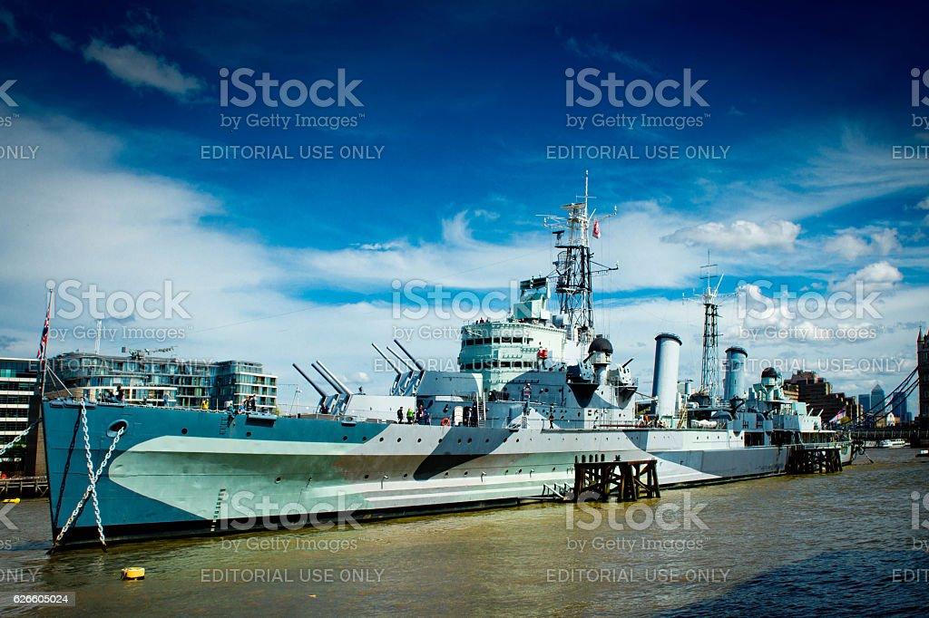 HMS Belfast stock photo