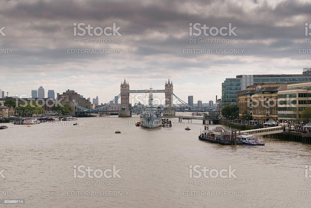 HMS Belfast ship on Thames stock photo