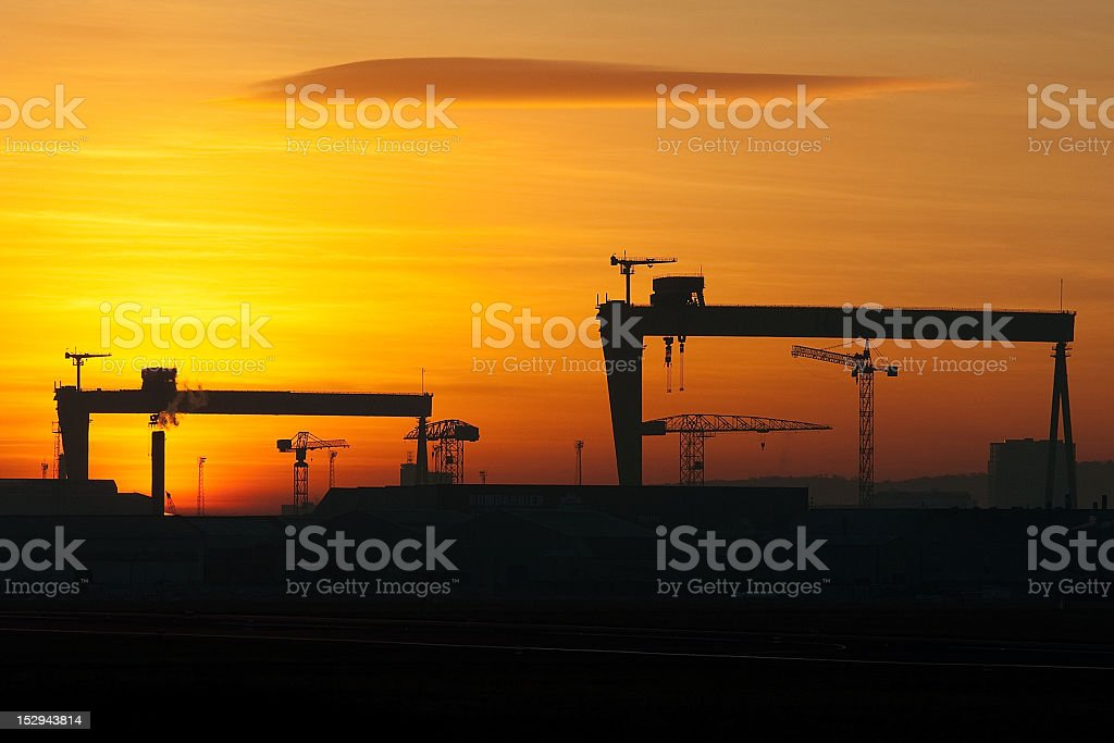 Belfast Shipyard Cranes stock photo