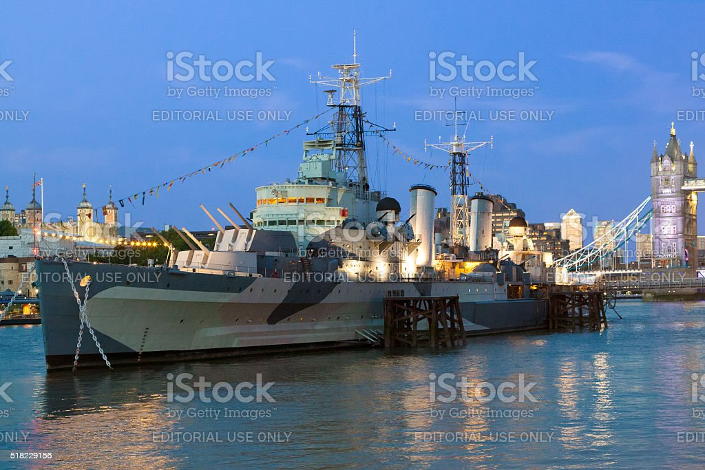 HMS Belfast, Tower Bridge, Tower of London and River Thames. stock photo