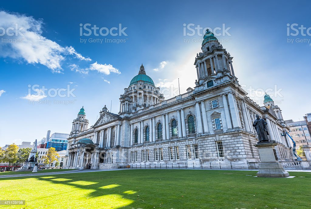 Belfast's City Hall and landscape in North Ireland stock photo
