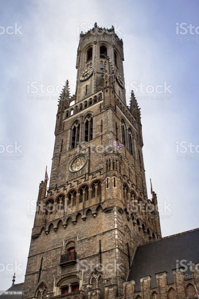 Belfort tower in Bruges, Belgium stock photo