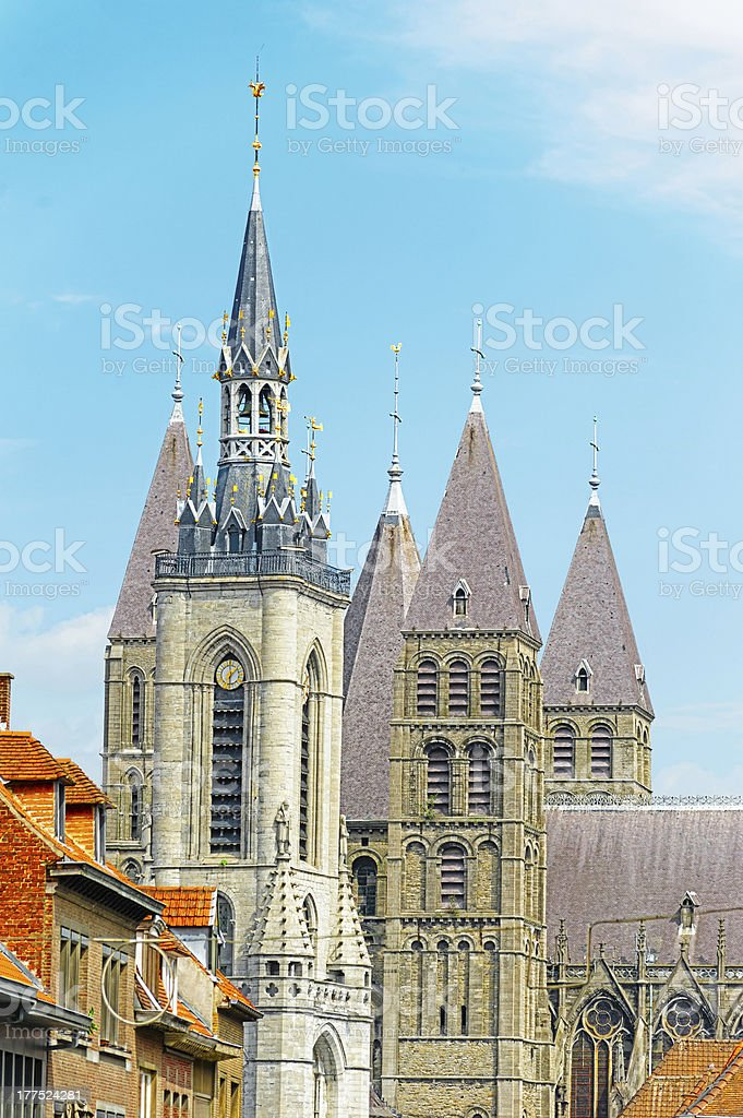 Belfry and Cathedral of Tournai, Belgium stock photo