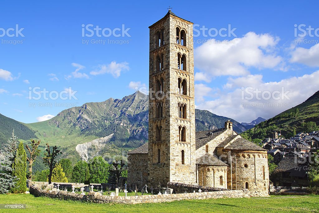 Belfry and church St. Clement of Tahull. Spain stock photo