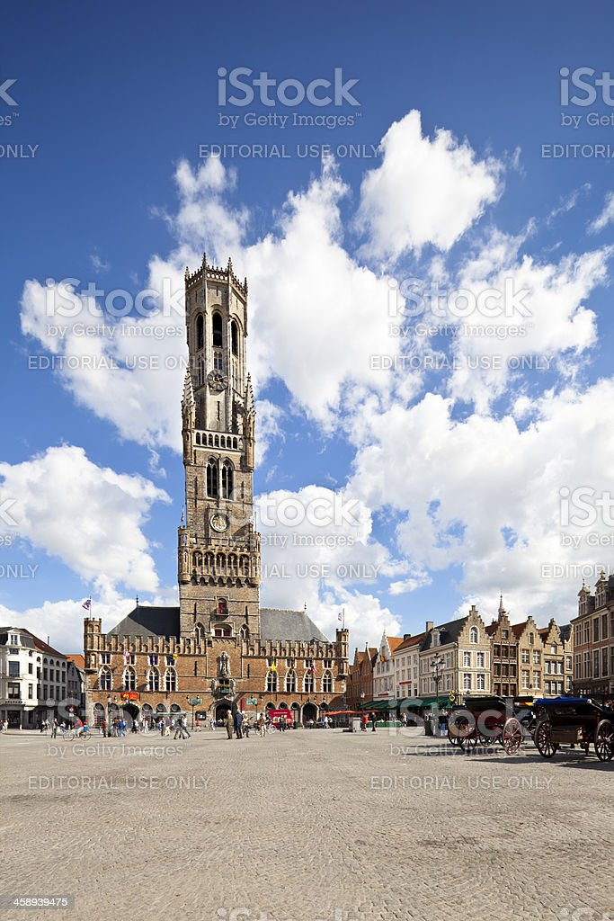 Belfry And Market Place in Bruges, Belgium royalty-free stock photo