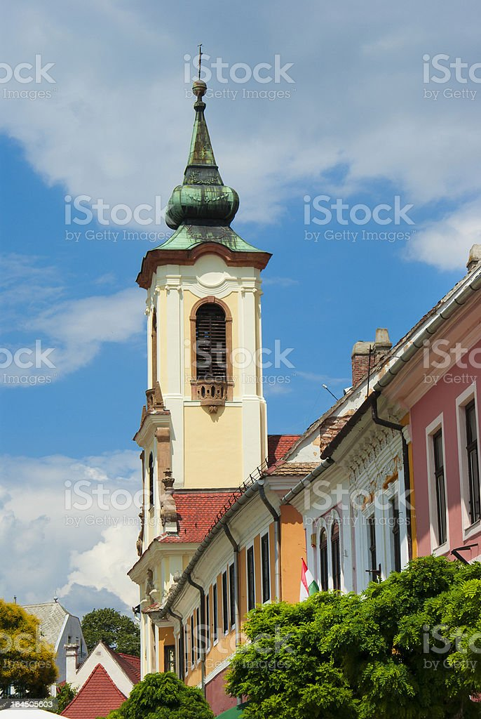 Belfry at blue sky in Budapest, Hungary royalty-free stock photo