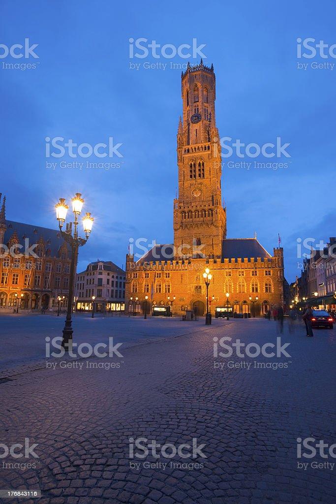 Belfry Grote Markt Bruges Twilight Vertical royalty-free stock photo