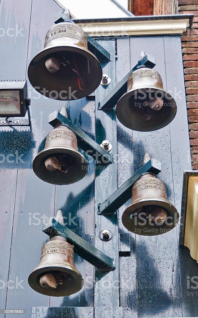 Belfry in Dutch village Volendam. stock photo