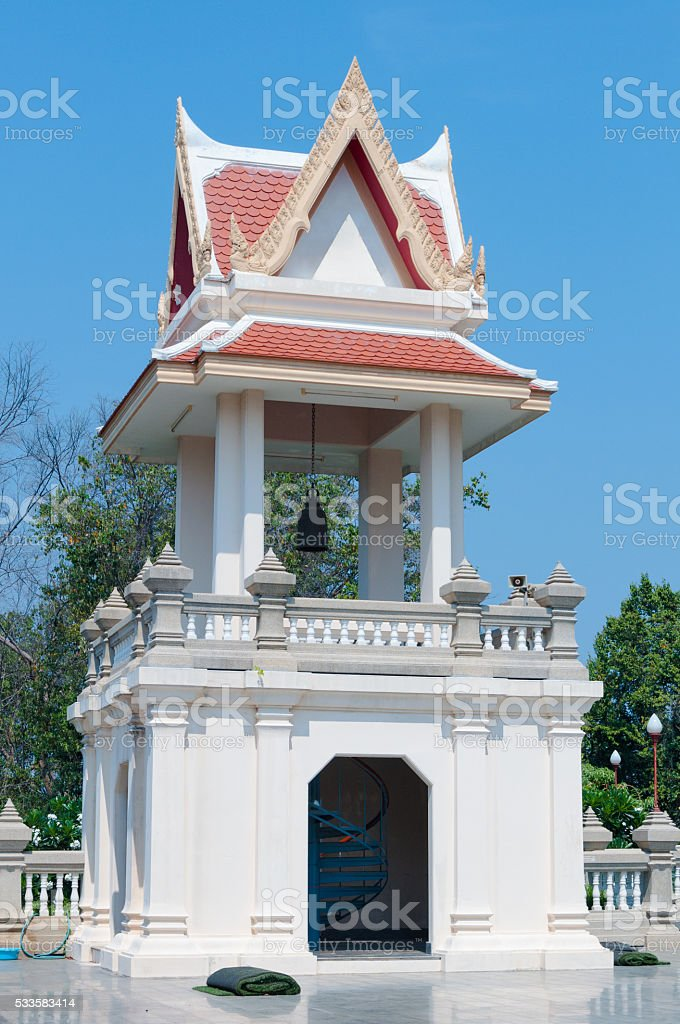 Belfry In public areas. Temple of Thai. stock photo
