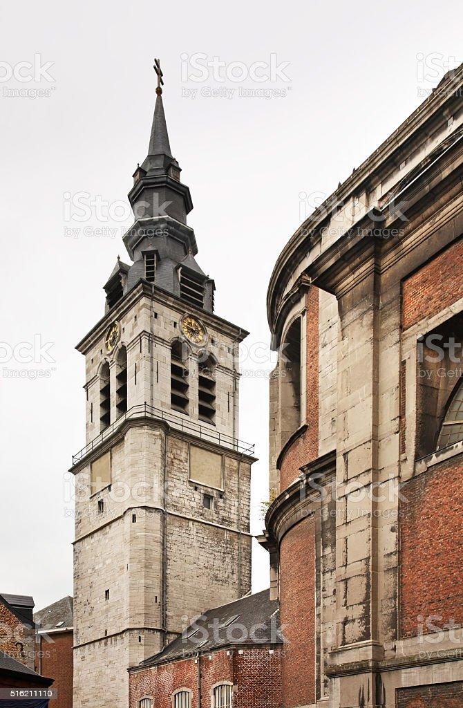 Belfry of Cathedral of St. Aubin  in Namur. Belgium stock photo
