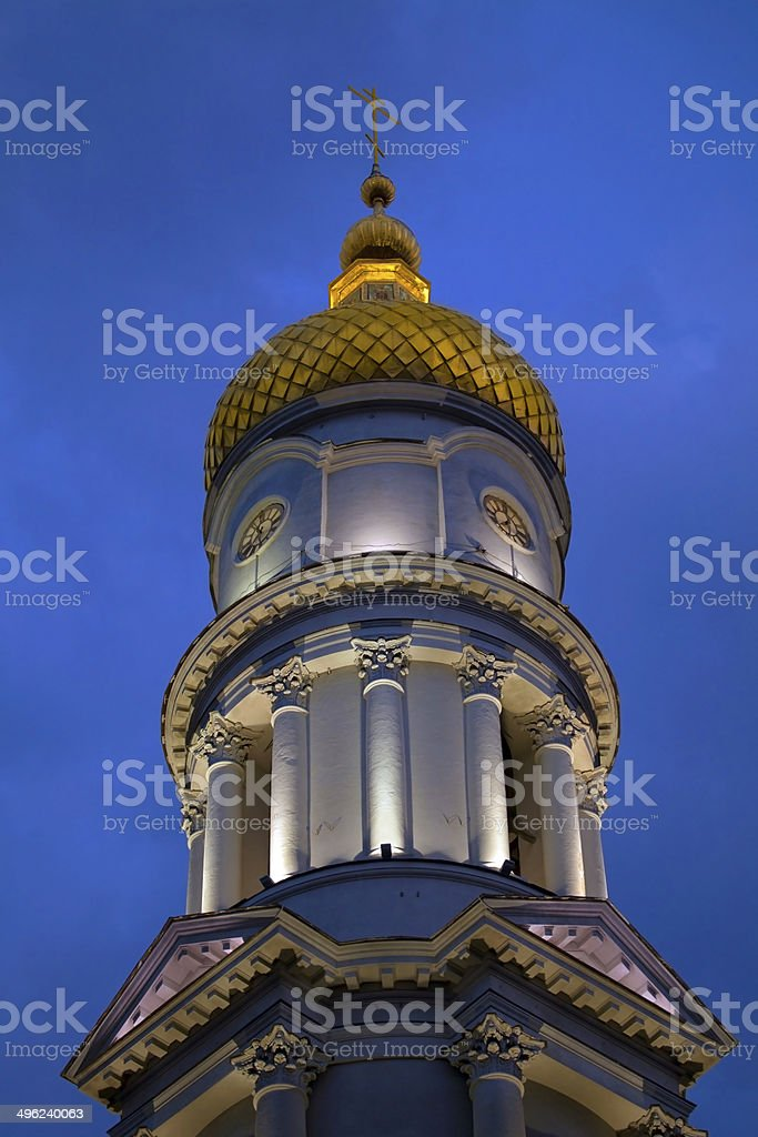 Belfry of Cathedral of the Assumption at night. stock photo
