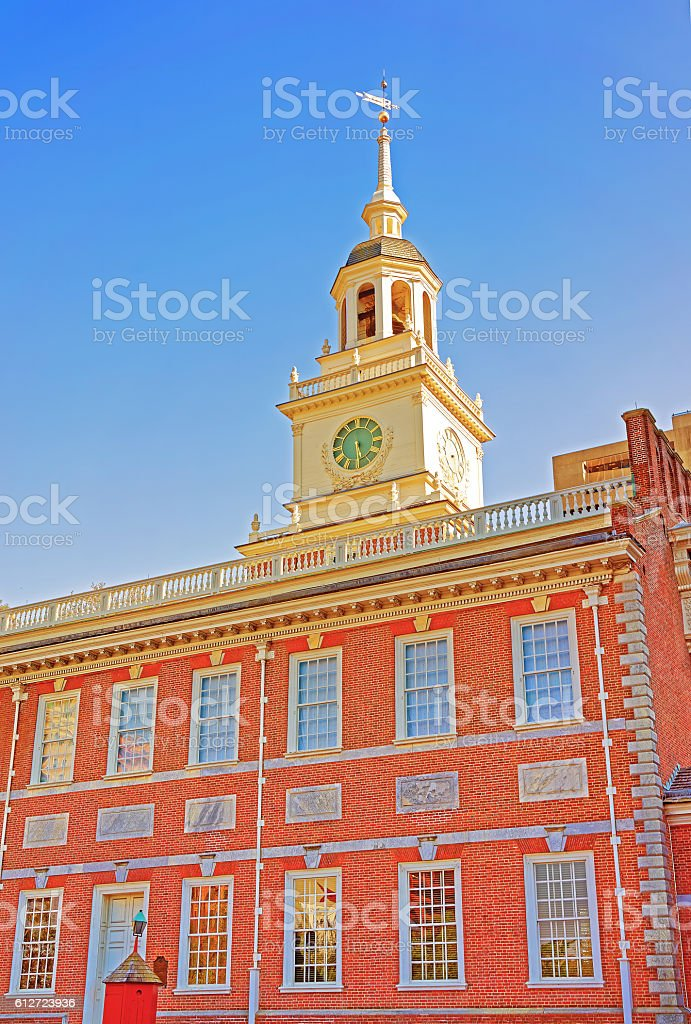 Belfry of Independence Hall in Philadelphia PA stock photo