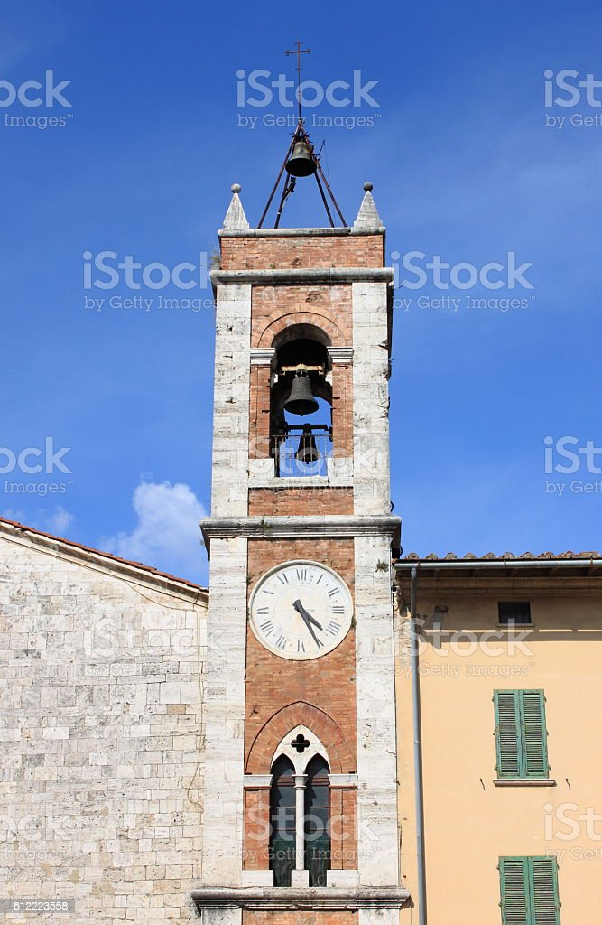 Belfry of Saint Francis church in San Quirico d'Orcia stock photo