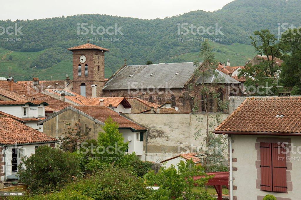 Belfry of Saint Jean Pied de Port stock photo