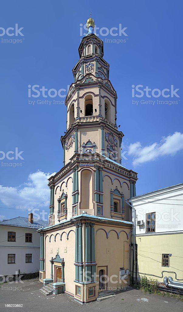 Belfry of saints Peter and Paul Cathedral in Kazan, Russia royalty-free stock photo