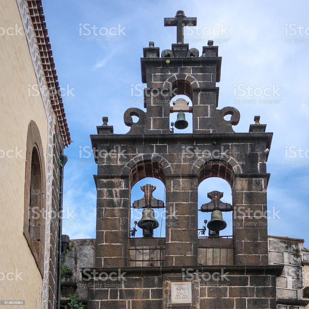 Belfry of San Agustin church stock photo