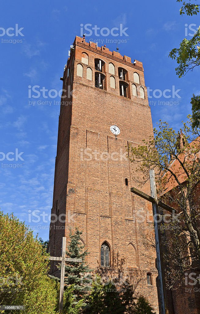 Belfry of St. John Cathedral (1384) in Kwidzyn town, Poland stock photo