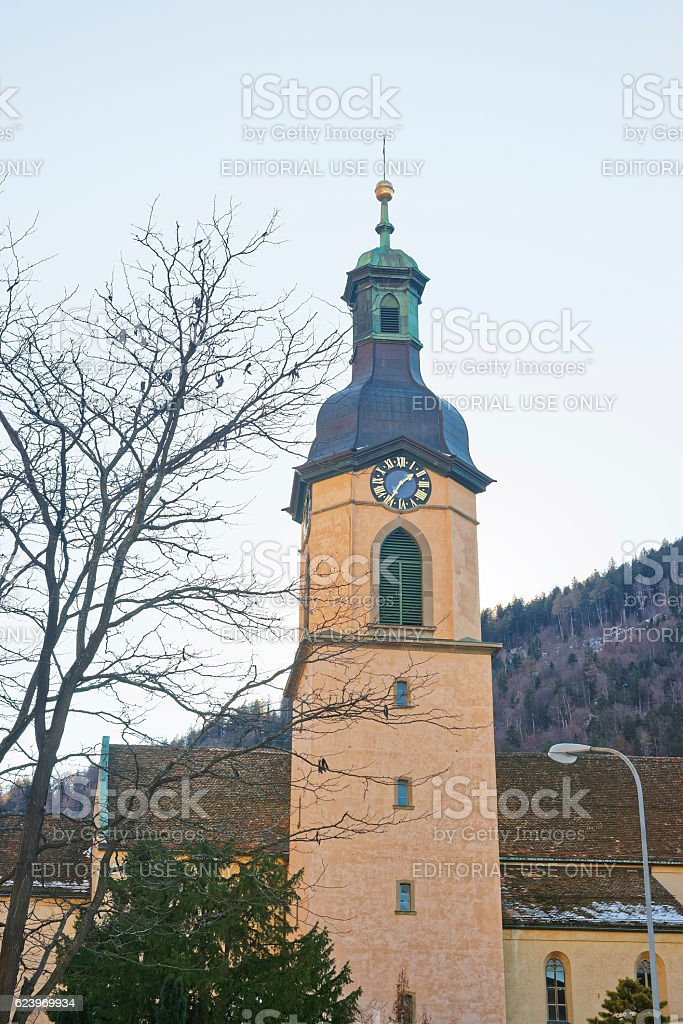 Belfry of the Cathedral of the Assumption in Chur stock photo
