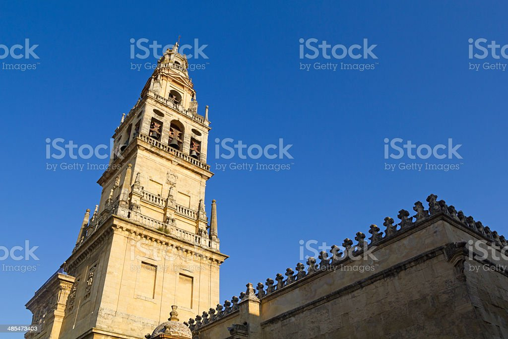 Belfry of the cathedral-mosque in Cordoba stock photo
