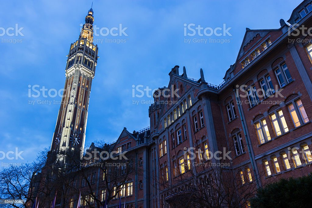 Belfry of the Town Hall in Lille in France stock photo