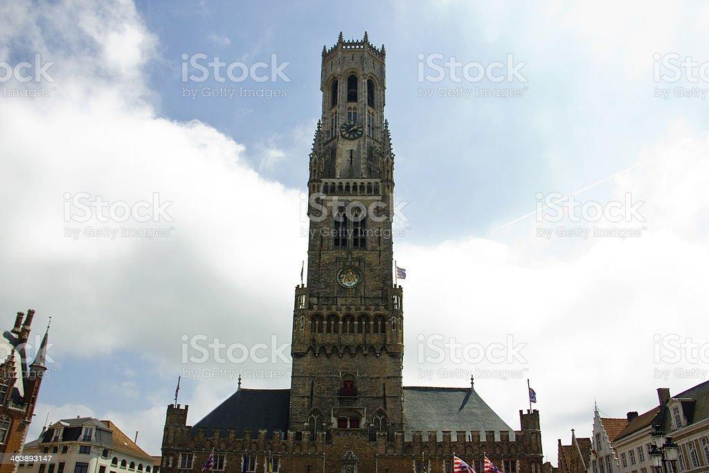 Belfry Tower in Bruges, Belgium stock photo