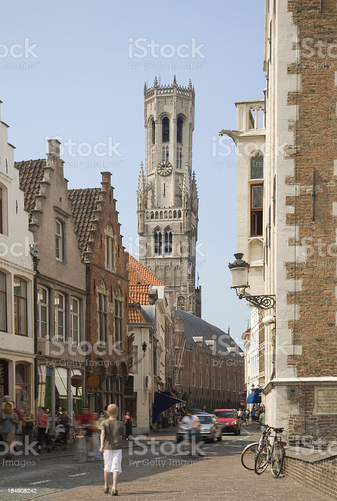 Belfry tower in Bruges royalty-free stock photo
