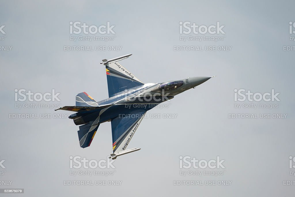 Belgian Air Force display F16 fighter jet stock photo