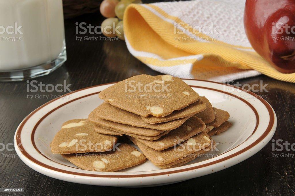 Belgian Almond Thin Cookies stock photo