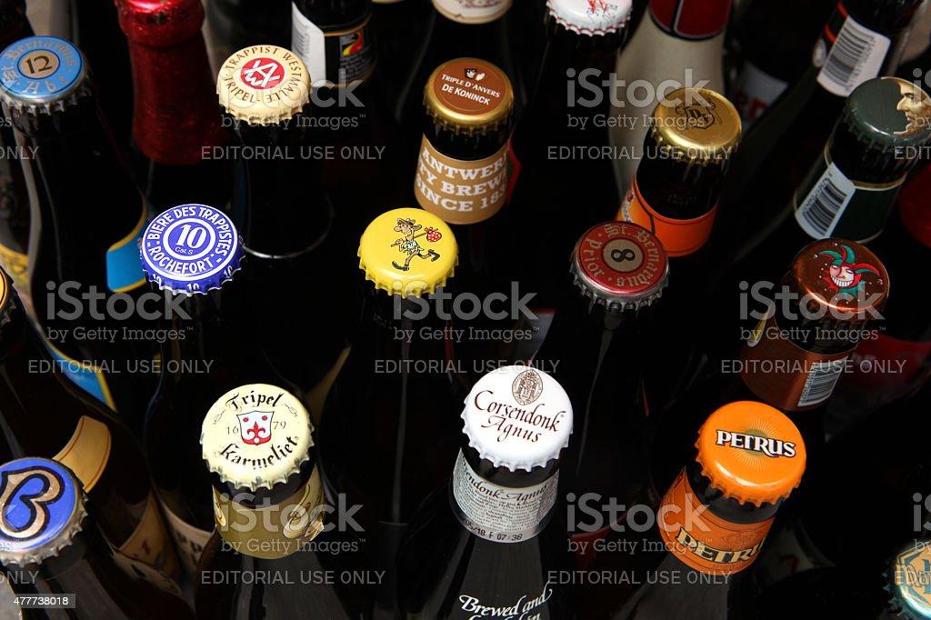 Belgian Beer Caps Variety stock photo