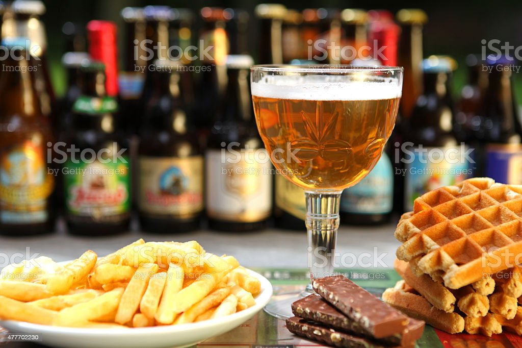 Belgian Beer, Waffles, Chocloate and Fries stock photo