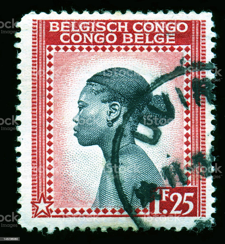 Belgian Congo Postage Stamp, African Profile royalty-free stock photo
