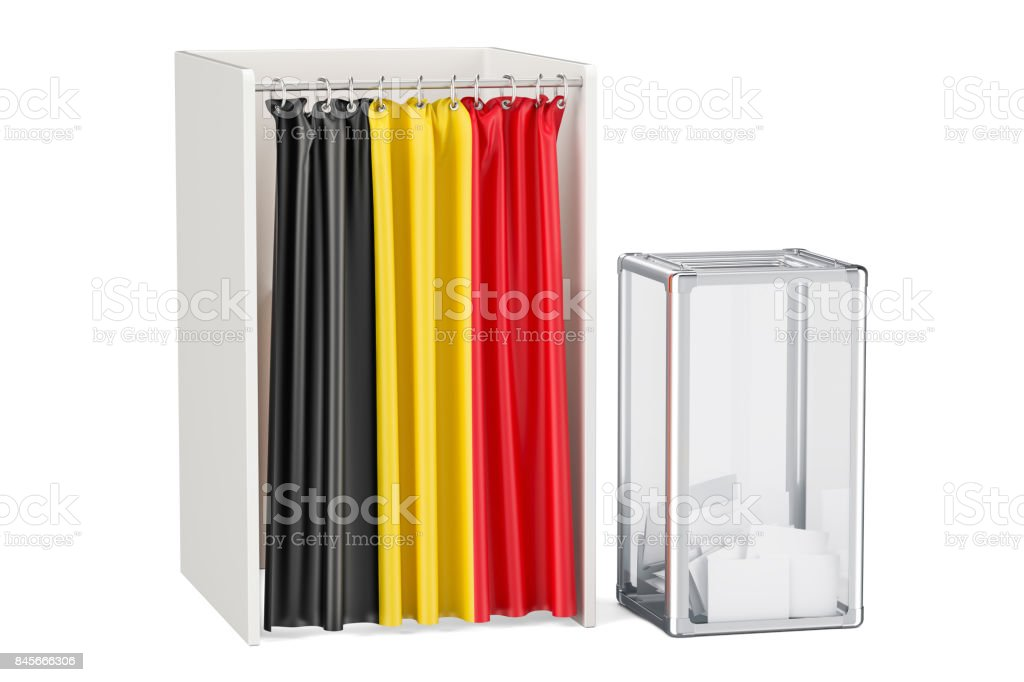 Belgian election concept, ballot box and voting booths with flag of Belgium, 3D rendering isolated on white background stock photo