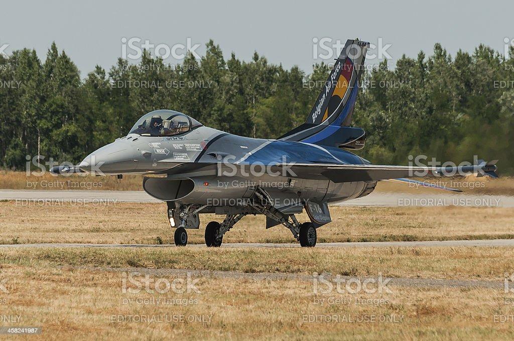 Belgian F-16 after landing royalty-free stock photo