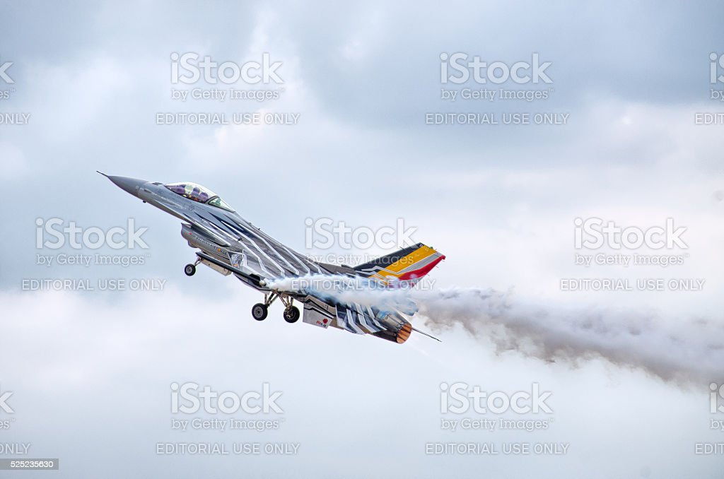 Belgian F-16 figter on Radom Airshow, Poland stock photo