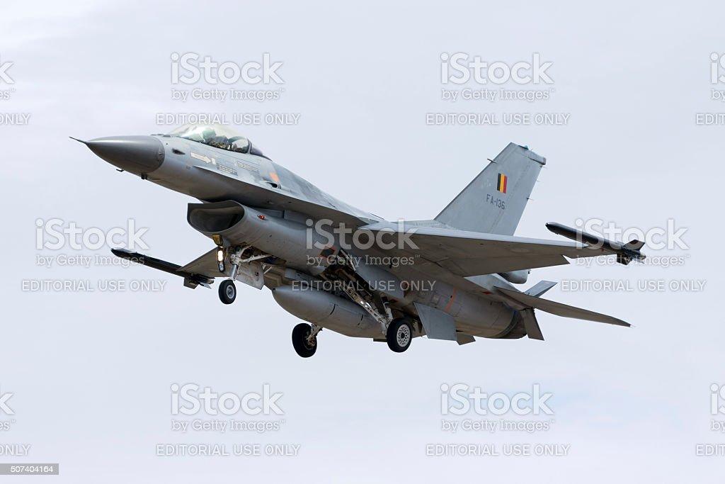 Belgian F-16 landing. stock photo